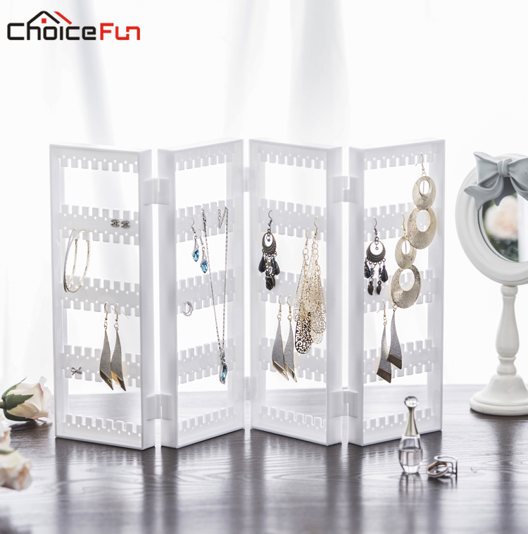 CHOICEFUN 4 Doors 128 Pairs Foldable Clear Acrylic Jewellery Jewelry Organiser Organizer Plastic Earring Storage For Decoration
