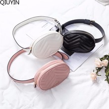 QIUYIN Handbag Beige New Fashion Luxury Brand High Quality Women Pack Waist Bag Round Belt Leather Chest