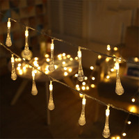 10M 100pcs Waterdrop LED Christmas String lights Fairy Garland AC220V For Holiday Wedding Patio Festival Outdoor Lighting