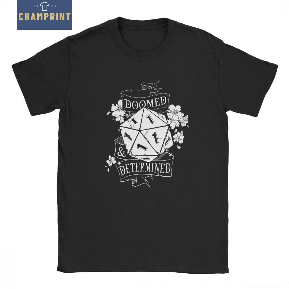 Doomed Determined Man's   T     Shirts   D20 DnD Dungeons And Dragons Dice Die Vintage Cotton Short Sleeves Tees   T  -  Shirt   Design Tops