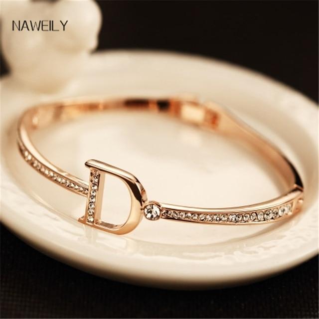 Brand Crystal Bracelet Fashion Letter D Cuff Bangles For Women Rose Gold Bangles Female Pulseiras Charm Bracelet