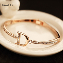 hot deal buy fashion classic letter charm bangles brand gold plated crystal bracelets&bangles jewelry women  nwlh55