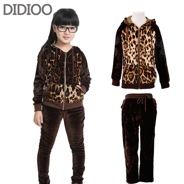 Kids Clothes Girls Clothing Set Leopard Print Children Sports Suit China Clothes Free Shipping Child Autumn Coat & Pants 2Pcs