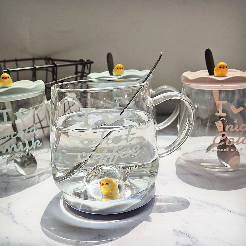 High Borosilicate Glass Cup With Cover With Spoon High Temperature Coffee Cup Fashion Creative Bird Transparent Cup in Mugs from Home Garden