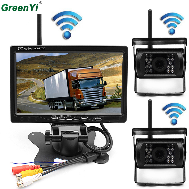 Wireless Vehicle 2 x Backup Cameras Parking Assistance System IR Night Vision Rear View Camera 7 Monitor RV Truck Trailer Bus podofo wireless truck vehicle car rear view backup camera 7 hd monitor ir night vision parking assistance waterproof for rv rc