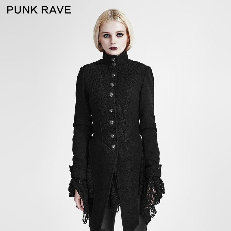 PUNK RAVE Women Fashion Gothic Black Jacket Coat Casual Steampunk Woolen Lace Stitching