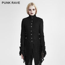 PUNK RAVE Women Fashion Gothic Black Jacket Coat Casual Steampunk Woolen Lace Stitching
