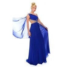 Nach Maß Modische One-Shoulder Backless Kristall Sheer Blau Chiffon Lange Abendkleider 2016 Vestidos de Noite