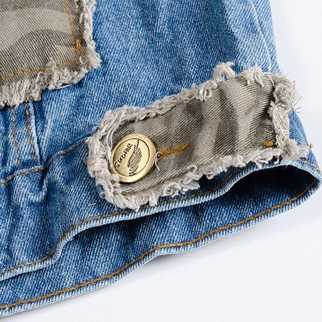 7fc43ed86b6 Online Shop SHIFUREN 2017 New Blue Jeans Vest Men Camouflage Patch ...