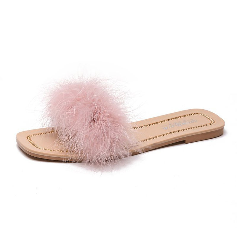 Fashion Faux fur slides shoes women slippers crystal sandals simple furry pantufa ladies plush slippers wholesale Flip Flops цены онлайн