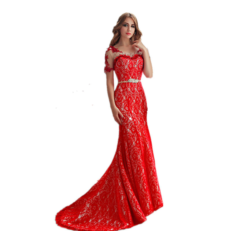 Buy vestidos de novia bateau appliques for Red wedding dresses with sleeves