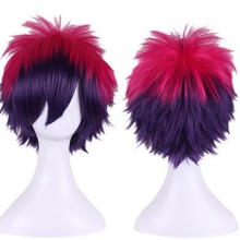Anime Short Fluffy Layered Cosplay Costume Wig Red Purple Ombre Wigs For Women No Game No Life Sora Synthetic Hair + Wig Cap цена в Москве и Питере