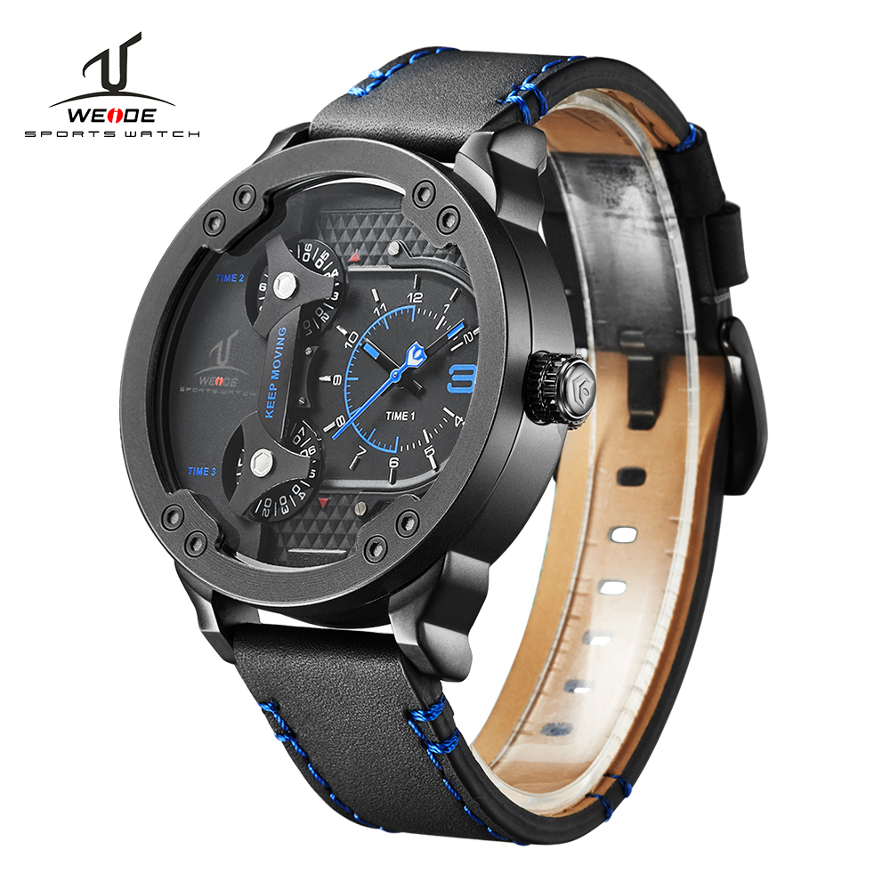 WEIDE Brand Sport Watch Quartz Watch Black Genuine Leather Strap Multiple Time Zone Male Water Resistant Clock erkek kol saati цена