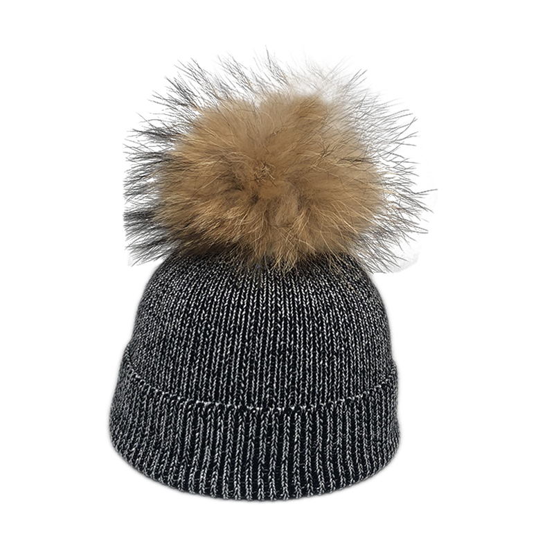 2019 New Fashion Wool Beanie Kids Baby Winter Silver Wire Knitted Hats Caps For Children Real Fur Pompom Hat Skullies