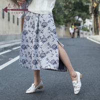 Life In The Left Embroidered Linen Irregular Women Skirts Floral All match High Split OL Women High Street Formal Skirts