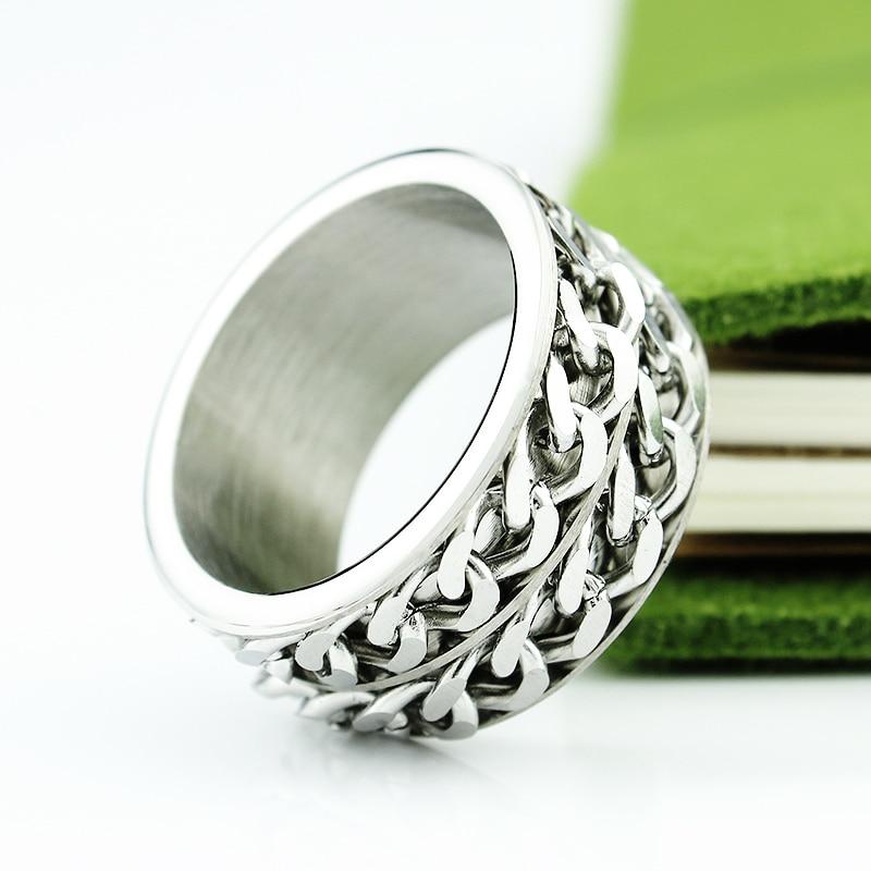 Gratis frakt Wide 12mm Titanium Steel Men Ring Dubbel Chain Ring - Märkessmycken - Foto 4