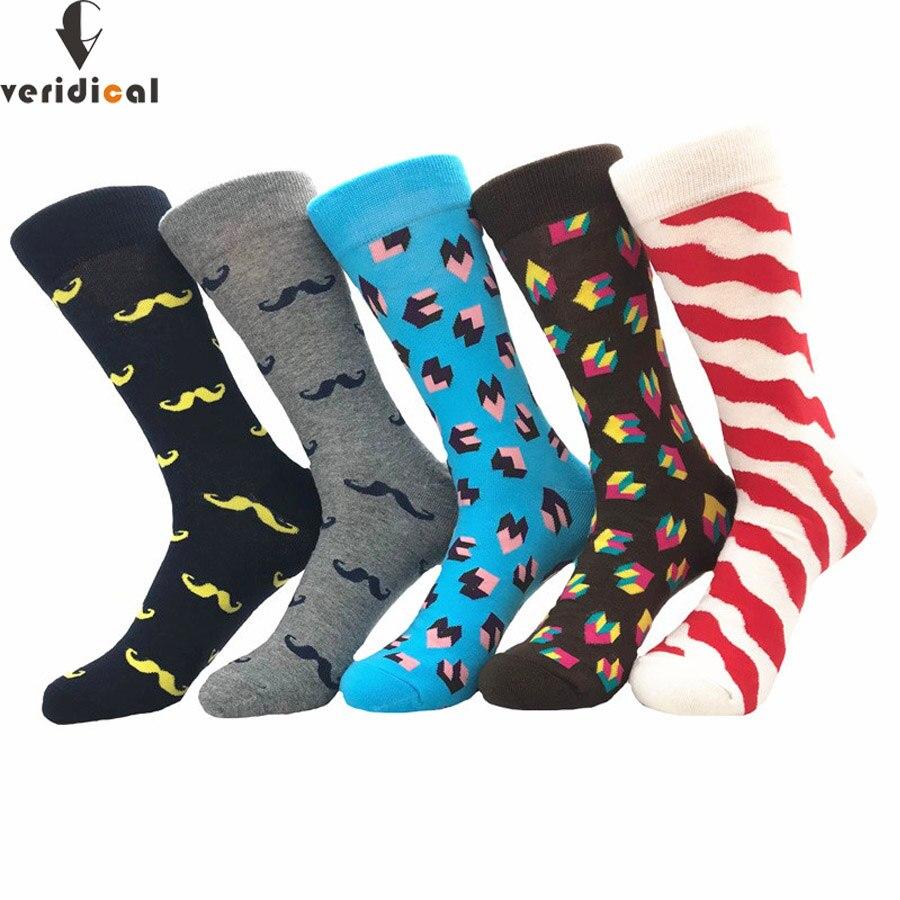 VERIDICAL new mens socks Women Beard diamond wavy lines Novelty Sock combed cotton funny Socks Mens big size crew socks fashion