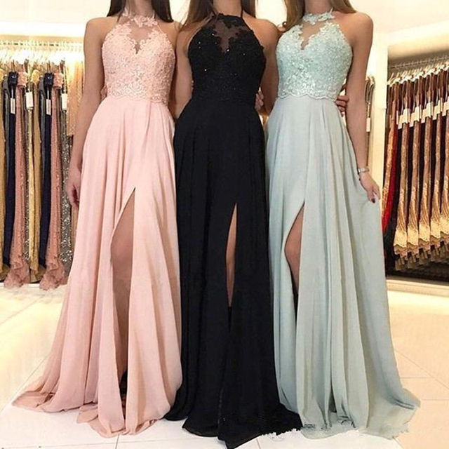 4e07b69cd 2019 elegante Halter Chiffon largo de dama Honor vestidos encaje color rosa  apliques Split boda invitado vestido