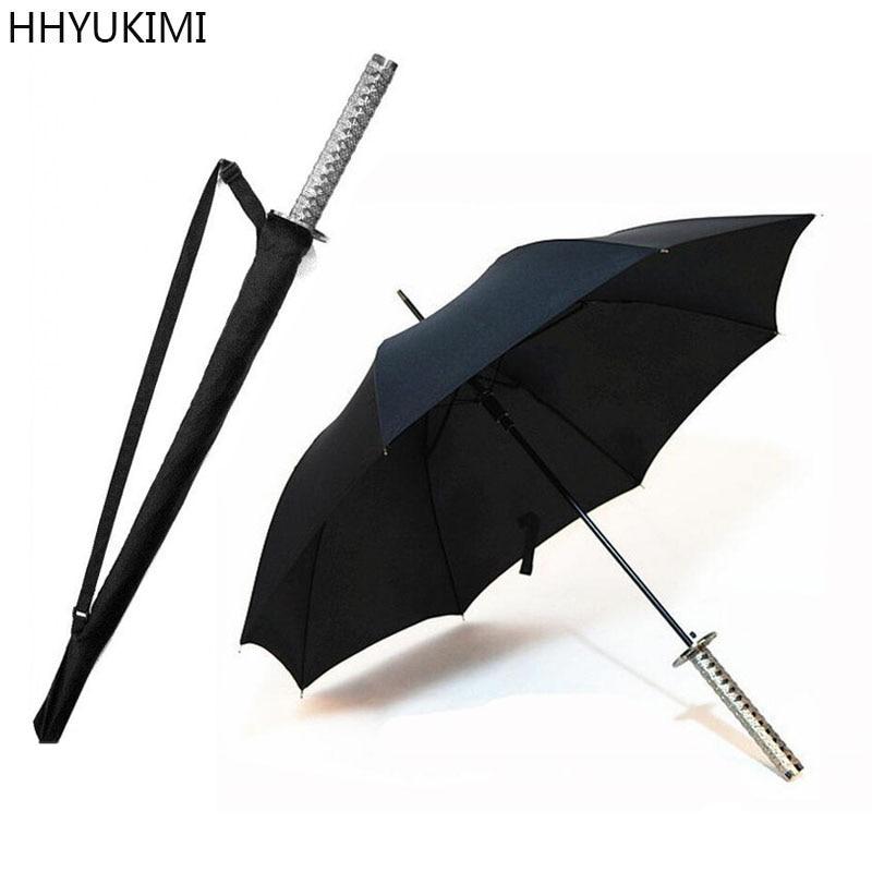 HHYUKIMI Huge Long Handle Large Windproof Samurai Sword Umbrella Japanese Ninja-like Sun Rain Straight Umbrella Manual Open diff drop kit for hilux