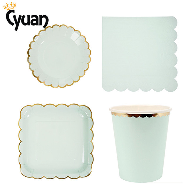 CYuan 44Pcs/Set Tableware Disposable Paper Plate Cup Cake Food Foil Gold Buffet Plates Wedding  sc 1 st  AliExpress.com & CYuan 44Pcs/Set Tableware Disposable Paper Plate Cup Cake Food Foil ...
