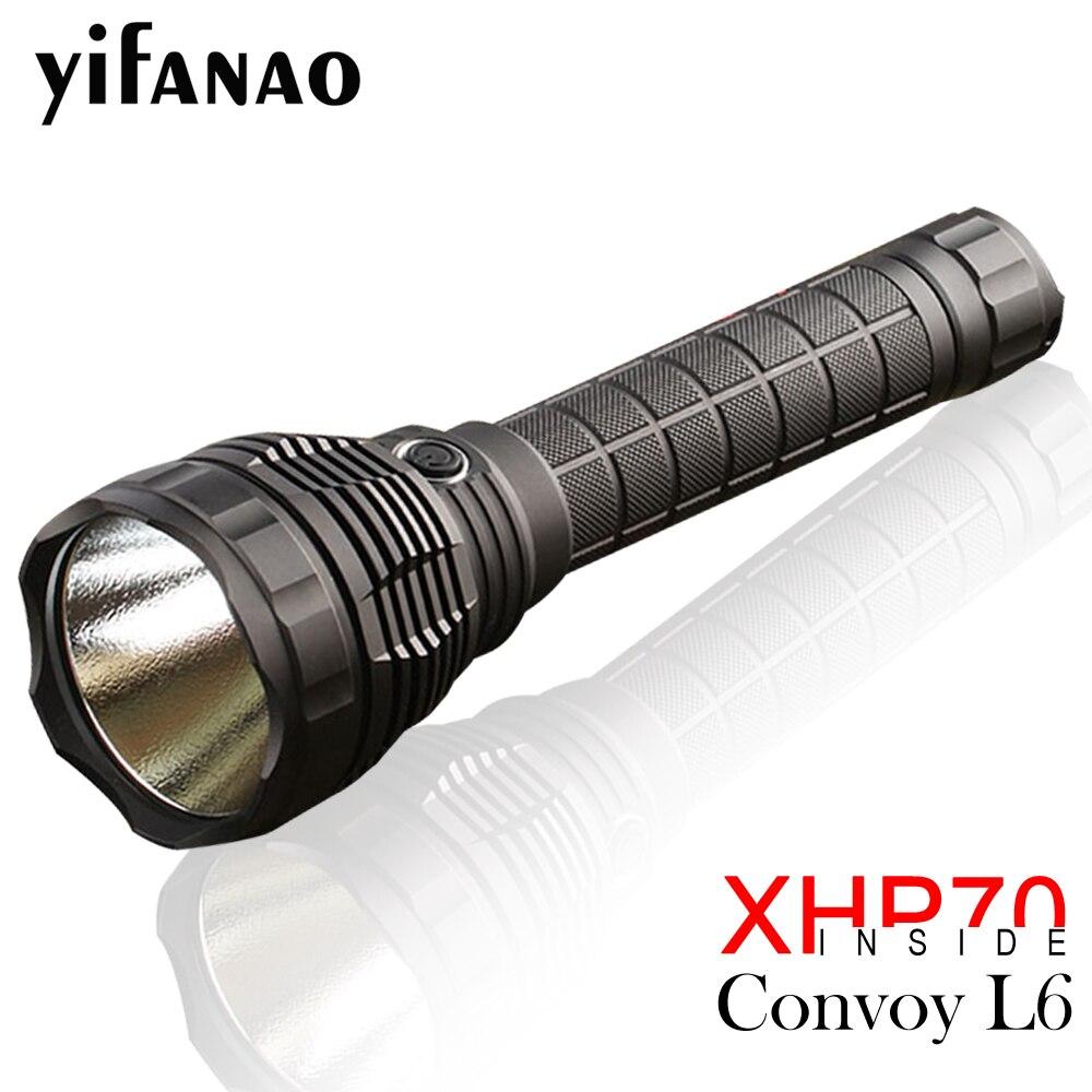Convoi L6 lampe de Poche XHP70 lampe de poche led Puissante Lampe Torche De Lumière de Nuit pour Camping En Plein Air Pêche Chasse Par 26650 Batterie
