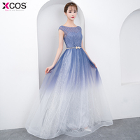 O Neck Floor Length Long Evening Dresses Vestido De Festa Sexy Ombre Gradient Prom Dress 2018