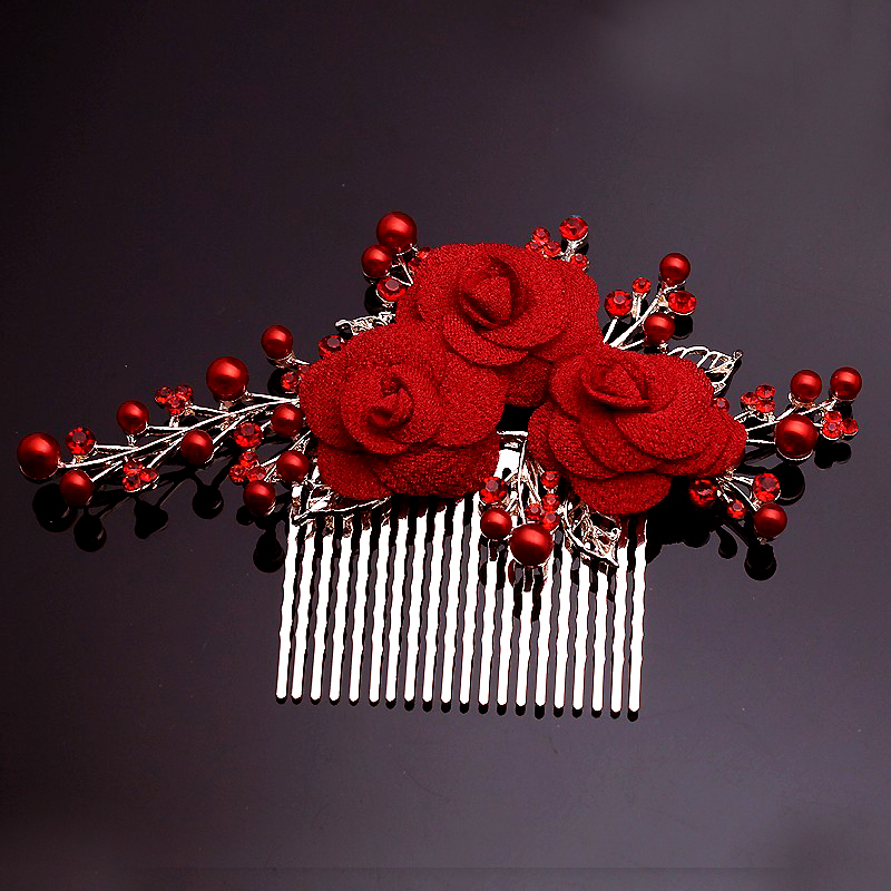 Əl işi Rhinestone Gelin Saç Aksesuarları Böyük Qızıl Çiçəkli Toy Gəlin Saç Tarağı Balo Festivalı Qırmızı Muncuq Çiçəkli Başlıq