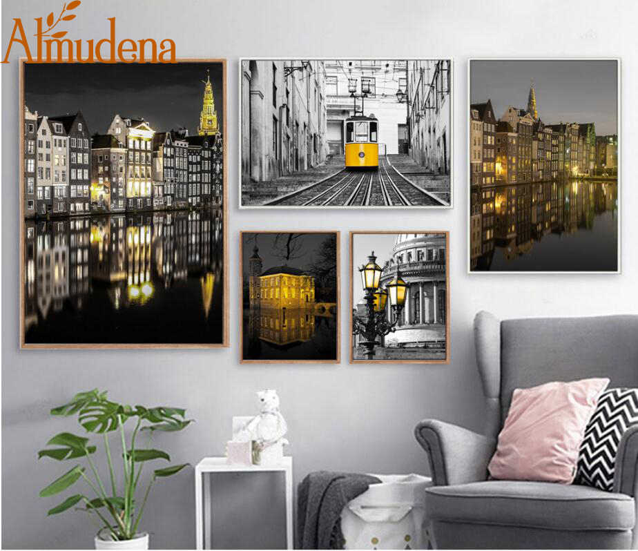 ALMUDENA Abstract European Landscape Black and White Yellow Building Home Decorative Painting No Frame Wall Art Canvas Prints