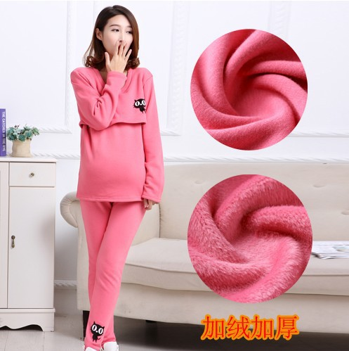 2016 Broadcloth Rushed Selling Cotton Lycra Modal Fashion Women Winter Suit Underwear Pajamas Thick Bamboo Charcoal Lactation