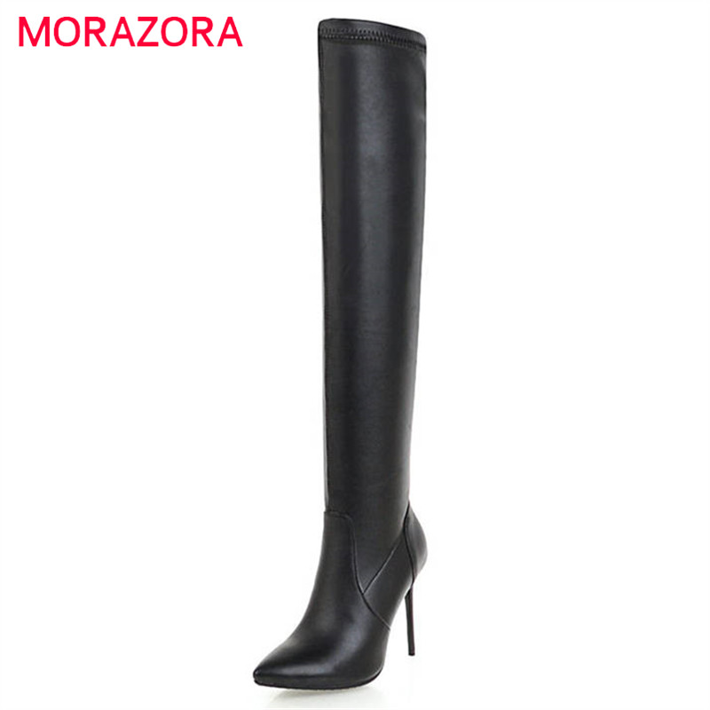 MORAZORA 2018 new fashion boots women thigh high over the knee boots slip on autumn winter long boots stiletto heels prom shoes цены