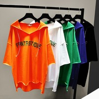 2019 Spring New Korean Loose Tee Shirt Women Letter Embroidery T Shirt Solid Color Hoodie Students Leisure Hooded Tops