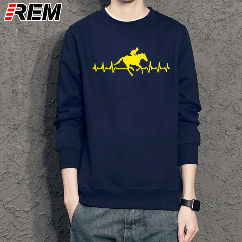 REM Men Hoodies, Sweatshirts Loose Clothes It's In My Heartbeat Horse Riding Youth Round Collar Customized Hoodies, Sweatshirts