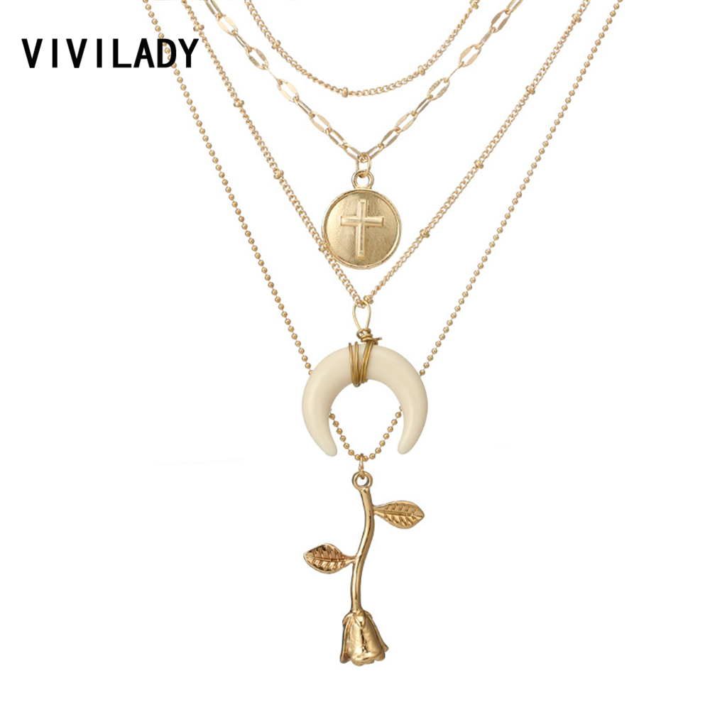 VIVILADY Bohemia Multi Layers Rose Flower Horn Cross Choker Necklace Women Gold Color Metal Chain Boho Lover Jewelry Party Gift