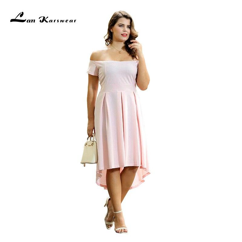 Lan Karswear 2019 Dámské letní letní šaty s dlouhým rukávem asymetrické dámské oblečení Office Ladies Beach Party Wild