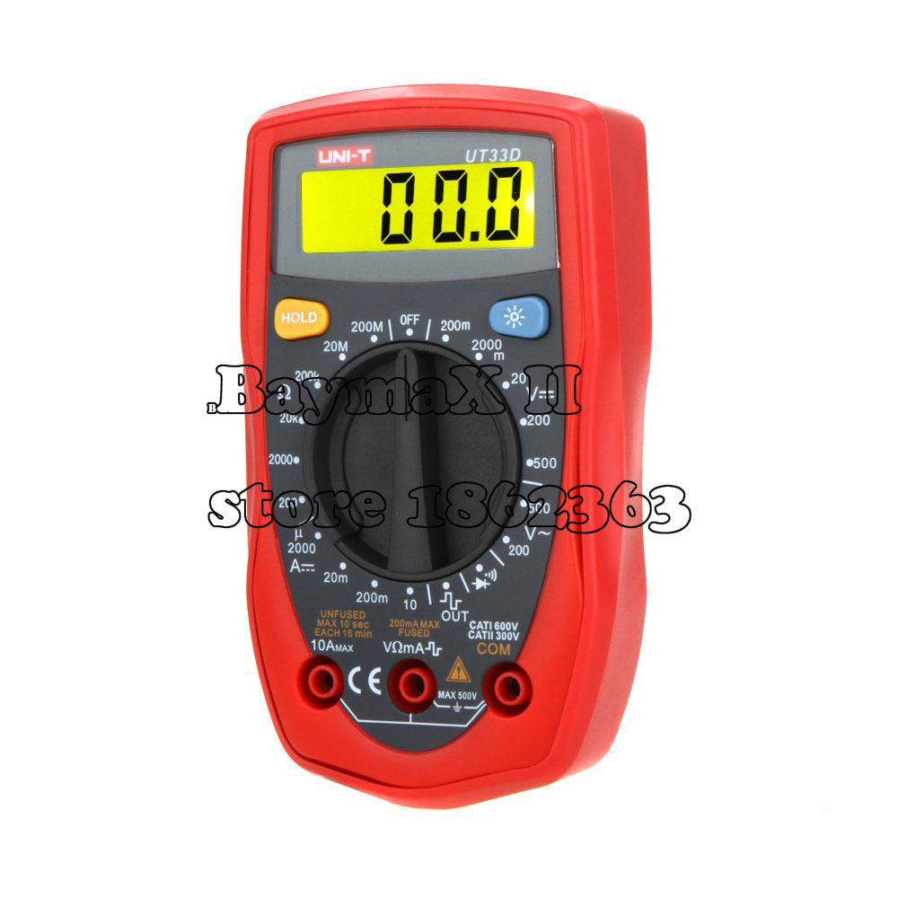 UT33D Digital Multimeter AC/ DC Voltage,DC Current,Resistance,Continuity,Diodes Tester with Backlight LCD mastech ms8239c voltage current resistance continuity multimeter