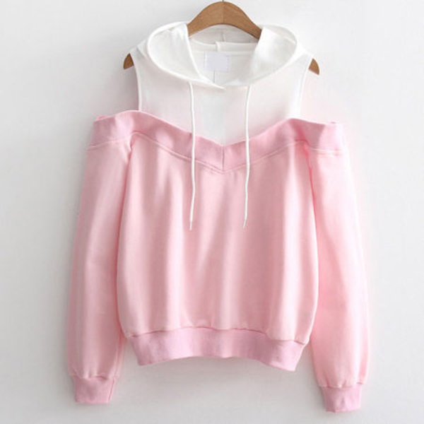 Off Shoulder Hoodie Sweatshirt