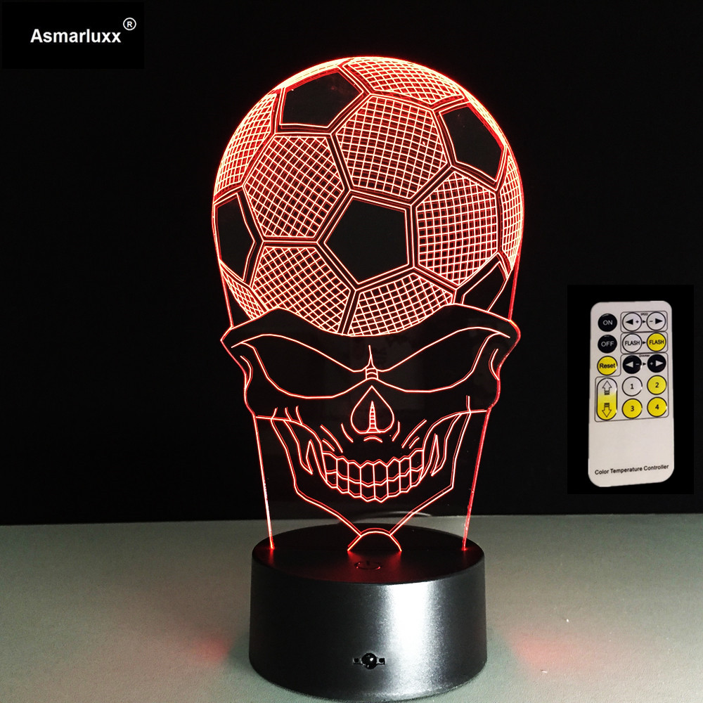 Novelty 3d Led Football Skull Head Lamp Bedside Sleep Night Light For Children Usb Table Lamp Decor Gifts Lampara Light Fixture image