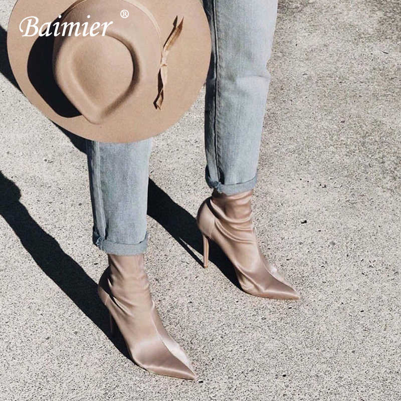 Baimier 2018 Fashion Silk Ankle Boots For Women Pointed Toe High Heel Women Sock Boots Street Style Solid Thin Heel Women Boots