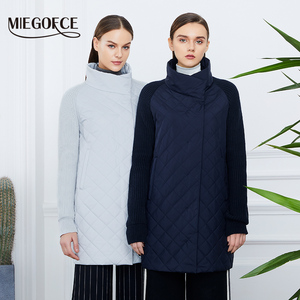 Image 2 - MIEGOFCE 2019 Spring Autumn Women Jacket With a Collar Knitted Sleeve Warm Jacket New Collection of Designer Womens Parka Coat