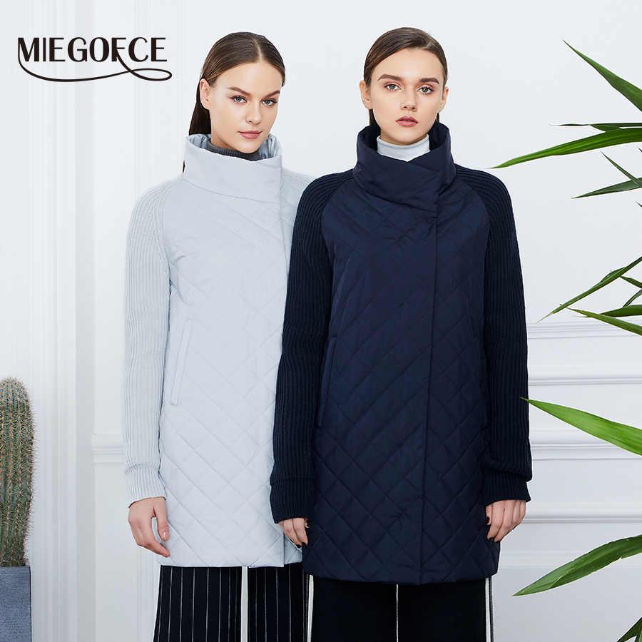 MIEGOFCE 2019 春の秋の女性のジャケットの襟ニット袖暖かいジャケットで新コレクションデザイナー女性のパーカーコート