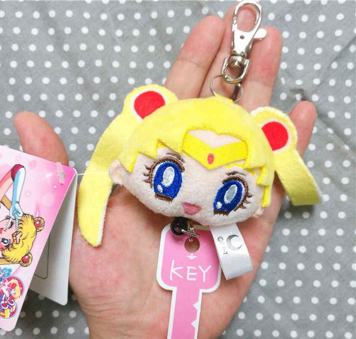 Sailor Moon 2 piezas Anime estiramiento llaveros Cosplay llaveros de felpa Tsukino Usagi Cosplay llavero anillo dijes colgante para las mujeres