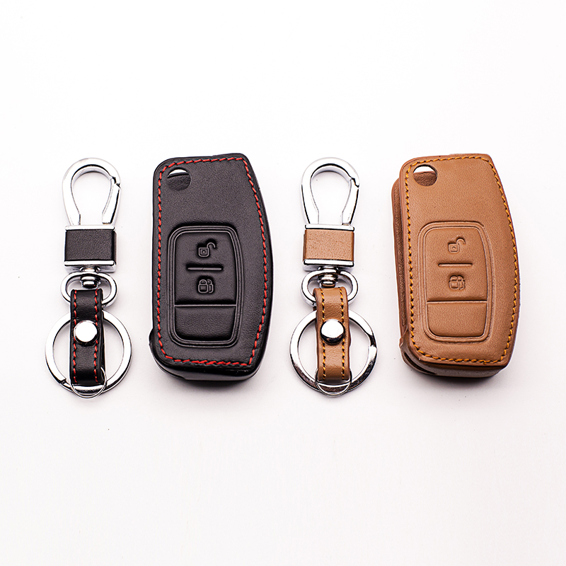 Leather Key Cover for Ford Fiesta Focus 2 Mondeo Ecosport Kuga Escape Case Shell