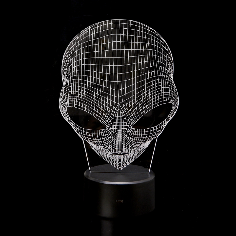 3D Hologram Pop-eyed Alien Shape Lamp Acrylic Night Light Lamp With Touch Switch