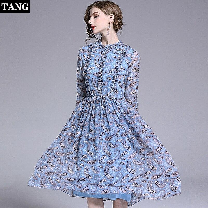 2019 printemps été grande taille femmes vintage bleu robe manches tempérament élégant en mousseline de soie robe