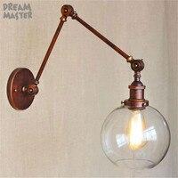 Vintage Clear Glass Globe Ball lamp shade Wall Light Retro Nostalgic Sconce Rustic lamparas de mesa luminaria decoracao quarto