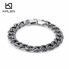KALEN, 22,5 см, нержавеющая сталь, звеньевая цепочка, браслеты для мужчин, Винтаж, 12 мм, ширина, массивный, хип-хоп, ручная цепочка, браслет, мужские ювелирные изделия