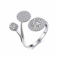 HERMOSA Jewelry New Trendy Style Shiny Zircon Beautiful Lotus Leaf Shape 925 Sterling Silver Charm Open