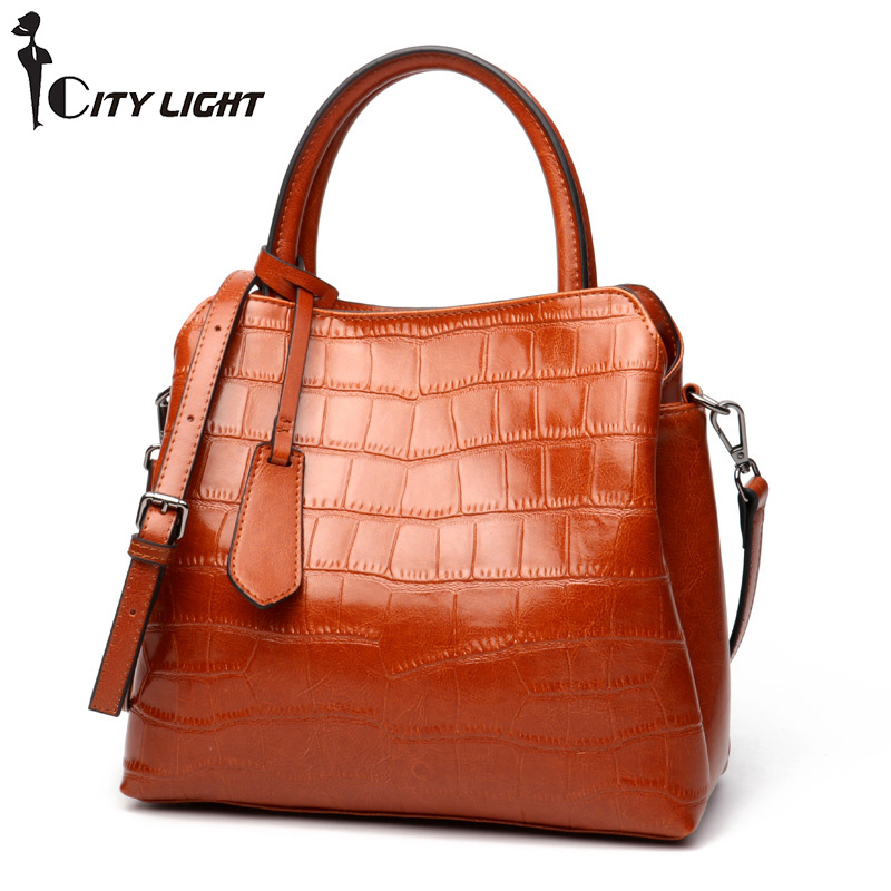 Genuine Leather Women Bag Crocodile Pattern Handbag Fashion Ladies Shoulder Bags High Quality Famous Brand Tote Messenger Bags