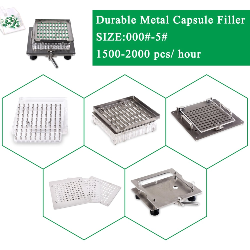 Máquina de cápsulas semiautomática de acero inoxidable 304 de la mejor calidad, kit de llenado de cápsulas vacías de fácil funcionamiento tamaño 000-5