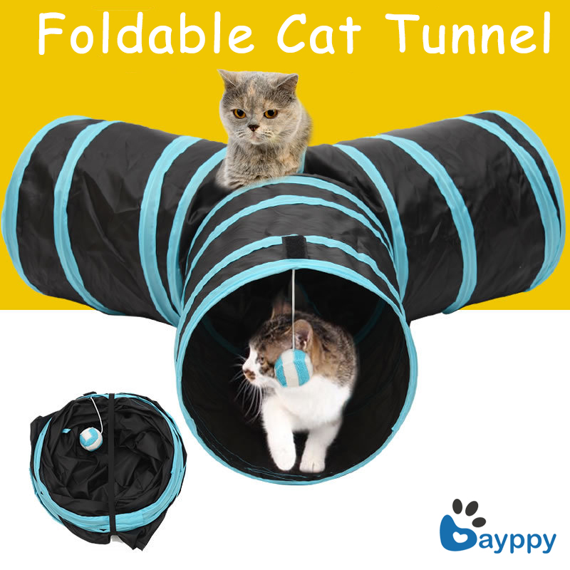 Y Shape High Quality Pet Tunnel 3 Ways Cat Play Tunnel Foldable Special Design Pet Play Training Toy for Kitten Cat 2 Colors ...